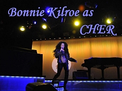 Bonnie Kilroe onstage in Las Vegas as Cher - Celebrity Imposters